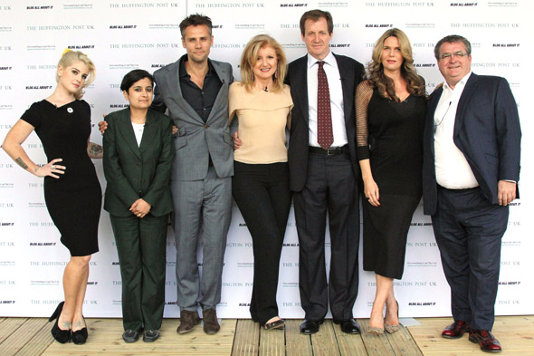 Kelly Osbourne, Shami Chakrabarti, Richard Bacon, Arianna Huffington, Alistair Campbell, Celia Walden and John Gaunt on the debate panel at the launch party for Huffington Post UK