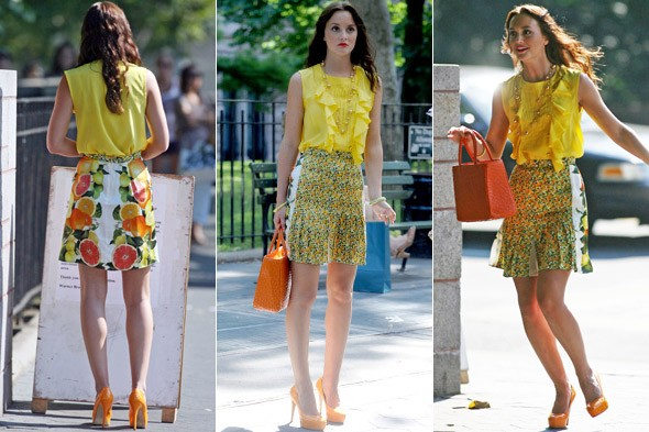 Leighton Meester in Stella McCartney on the set of Gossip Girl