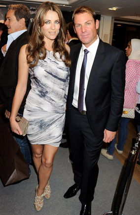 Elizabeth Hurley and Shane Warne at the Harrods Geox Red Bull party