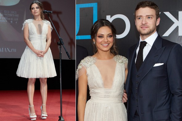 Mila Kunis and Justin Timberlake at the Friends With Benefits premiere in Russia