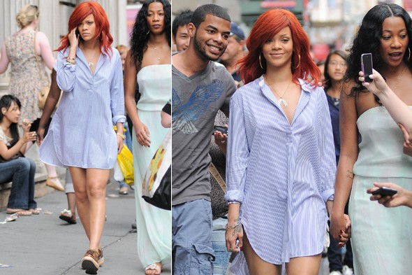 Rihanna wearing a striped man's shirt and shoes out and about in New York