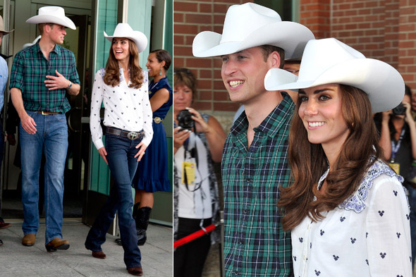William and Kate in matching white cowboy hats in Calgary, Canada