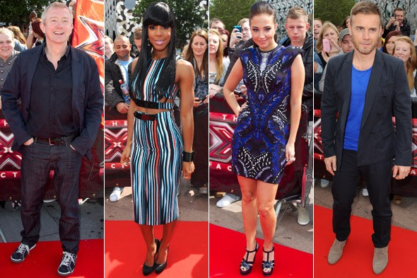 Louis Walsh, Kelly Rowland, Tulisa Contostavlos and Gary Barlow at the X Factor auditions in London