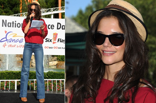 Katie Holmes celebrates National Dance Day at the Six Flags Magic Mountain park in California