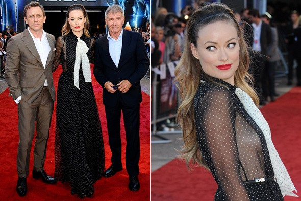 Daniel Craig, Olivia Wilde and Harrison Ford at the UK premiere of Cowboys and Aliens