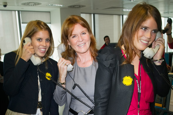 Fergie, Beatrice, Eugenie and Prince Harry hit the trading floor for charity event