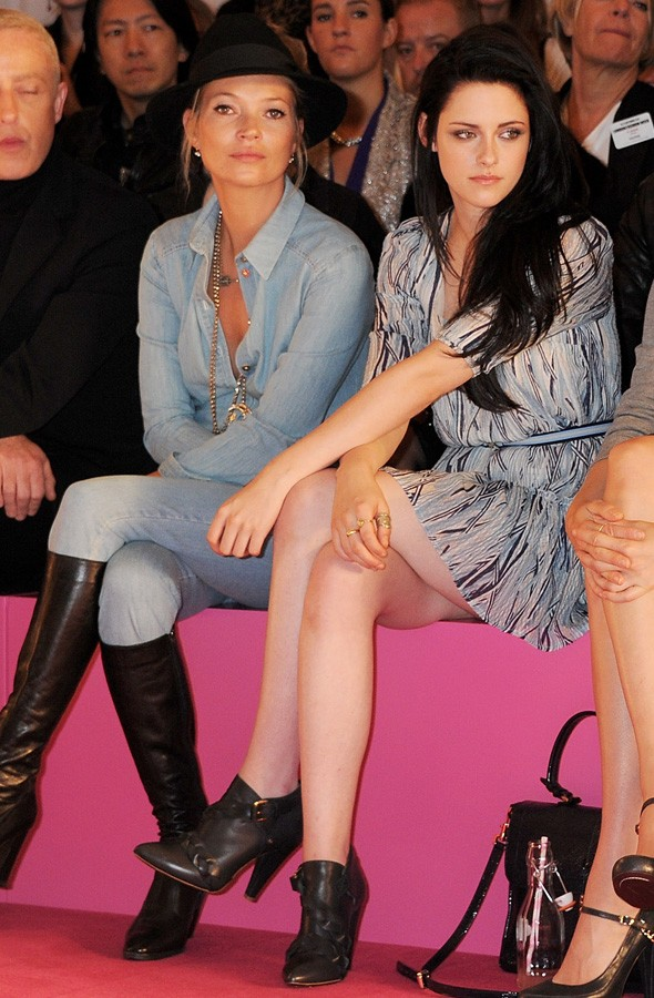 Kate Moss and Kristen Stewart are front row duo at Mulberry show