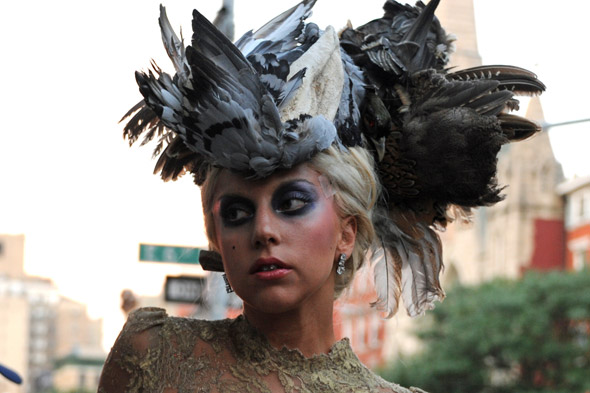 Literal street style: Lady Gaga poses in pigeon wing hat for Annie Leibovitz