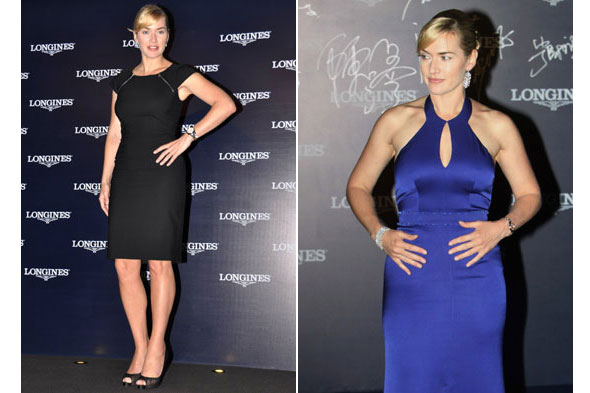Black and blue: Kate Winslet shows off two different looks as she parties with Longines in China