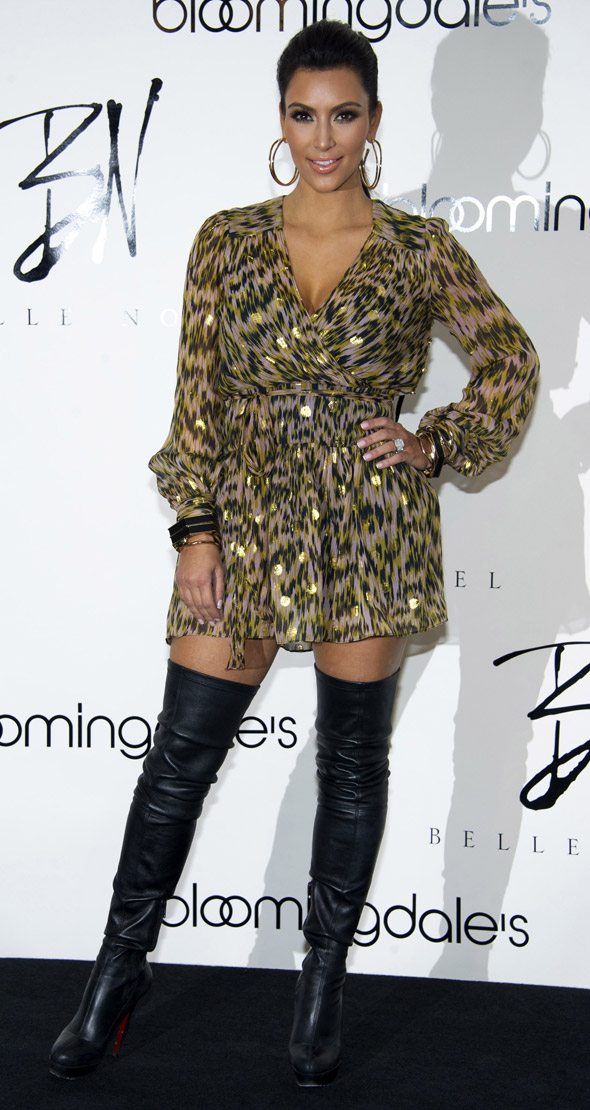 Hot or not: Kim Kardashian's thigh high leather boots