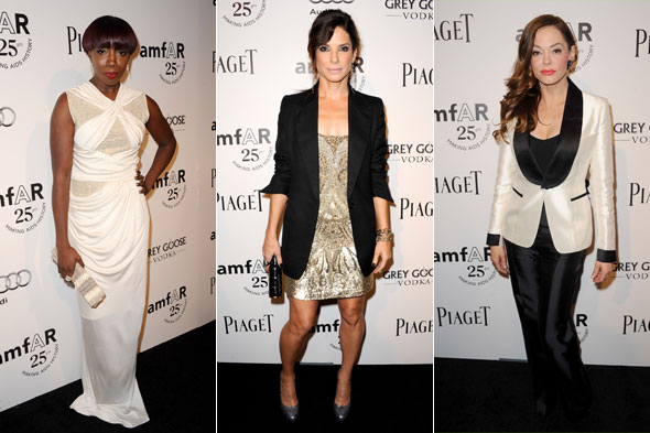 Black & white chic: Sandra, Estelle and co embrace monochrome at charity gala