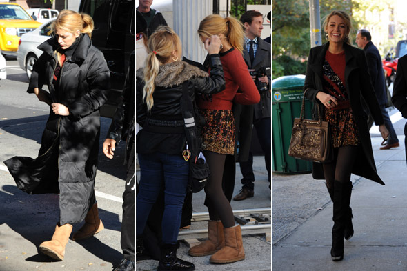 Blake Lively's back on the Gossip Girl set in mini skirt and to-the-knee
