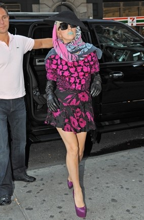 Lady-Gaga-blue-lips-floral-dress-New-York