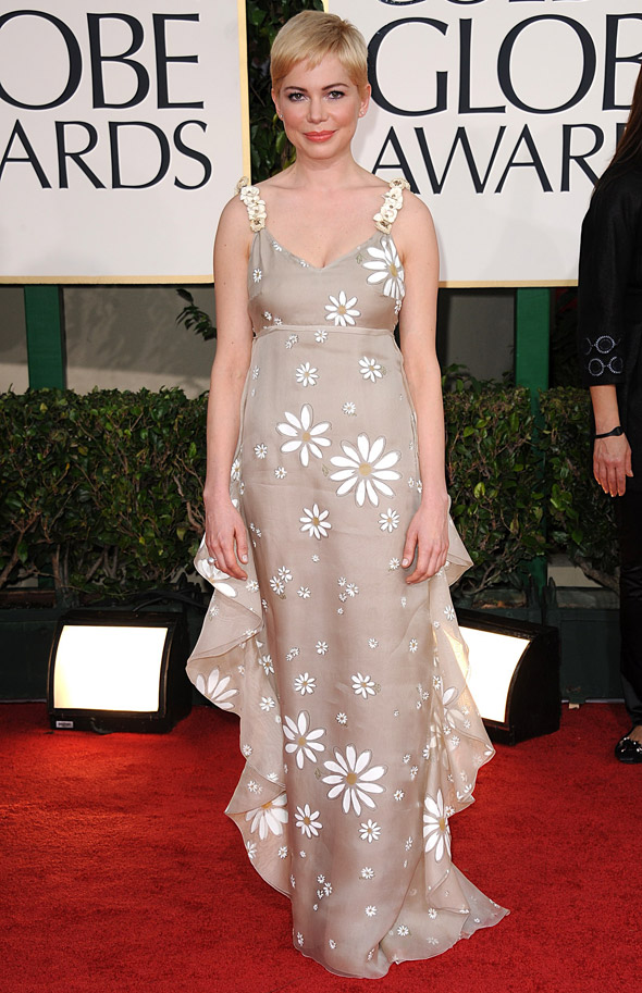 Michelle Williams floral dress at Golden Globes