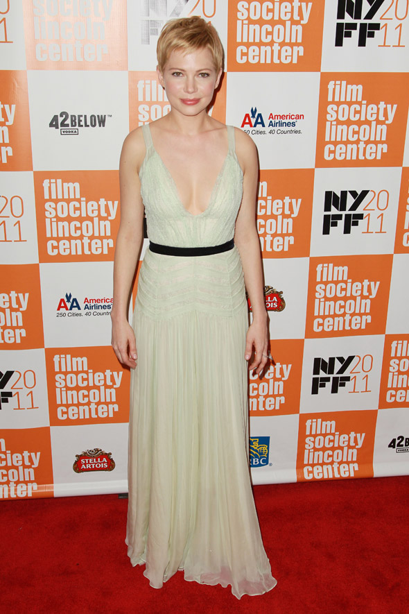 Michelle Williams wears daring plunge-neck Dior dress for Marilyn premiere
