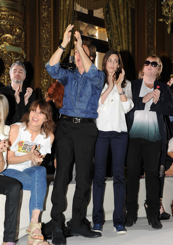 Daddy's girl: Stella McCartney gets a standing ovation from her father at Fashion Week: