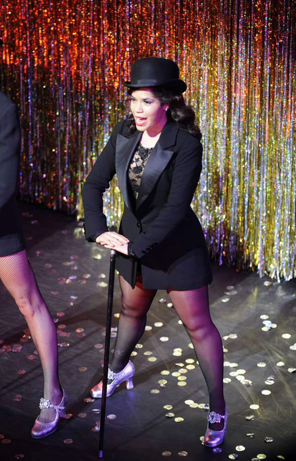First pics: America Ferrera takes to the stage as Roxie Hart