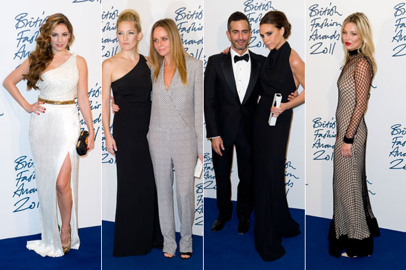 Victoria Beckham, Kate Moss and Kelly Brook hit the Fashion Awards red carpet
