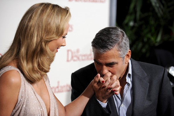 Stacy Keibler and George Clooney at The Descendants LA Premiere