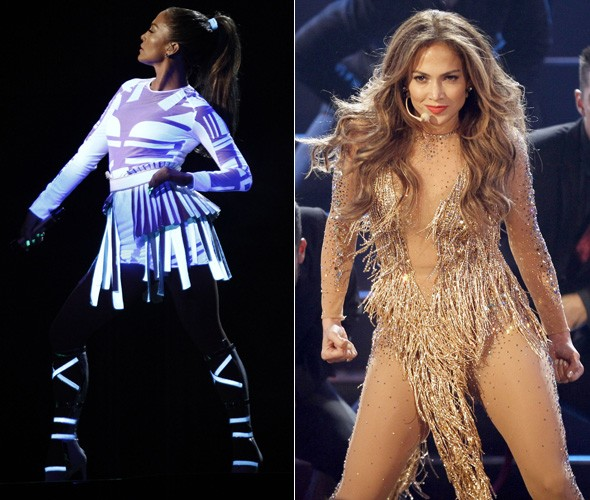 Nearly nude: Jennifer Lopez steals the show at AMAs in flesh crystal body suit