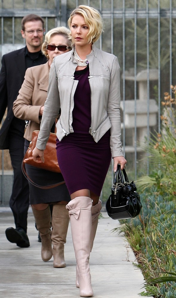 Hot or not: Katherine Heigl's bodycon dress and over-knee boots