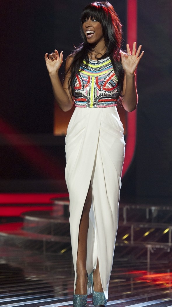 X Factor fashion face-off: Kelly's multicoloured beaded gown v Tulisa's LBD