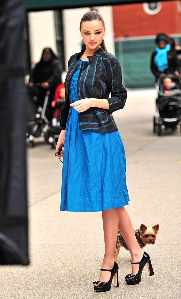 Miranda Kerr upstaged by adorable dog during NCY photoshoot