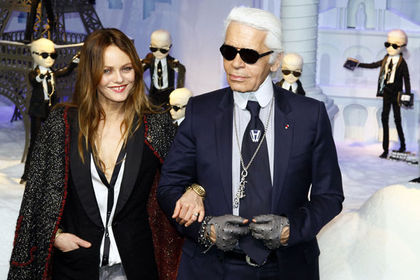 Karl Lagerfeld and Vanessa Paradis at the launch of Printemps Haussmann. Photo:PA