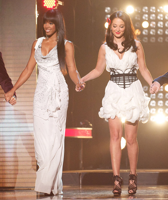Kelly and Tulisa wow in white on X Factor's results show