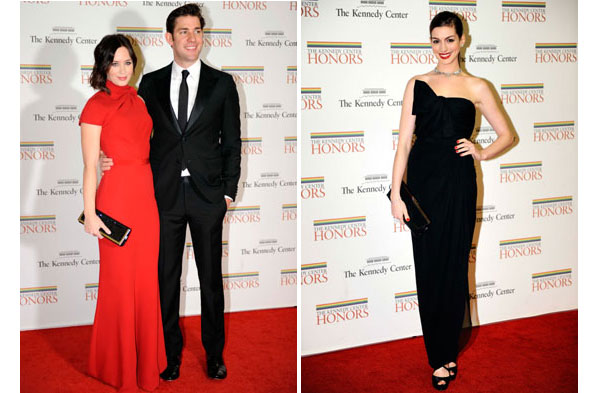 Frock-off! Anne Hathaway and Emily Blunt hit the Kennedy Center