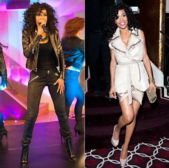 Michelle Williams wears two outfits as she performs at a private gig