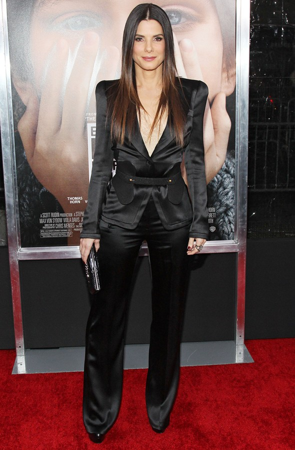 Sandra Bullock in Alexander McQueen at the Extremely Loud and Incredibly Close premiere in New York.