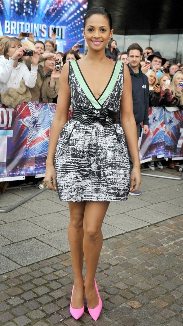 Hot Or Not Alesha Dixons Plunging Bgt Dress And Bright Pink Heels