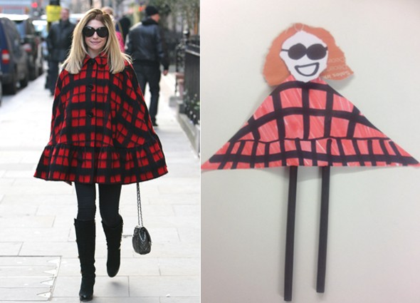 Nicola Roberts wears triangle cape, MyDaily create tribute puppet