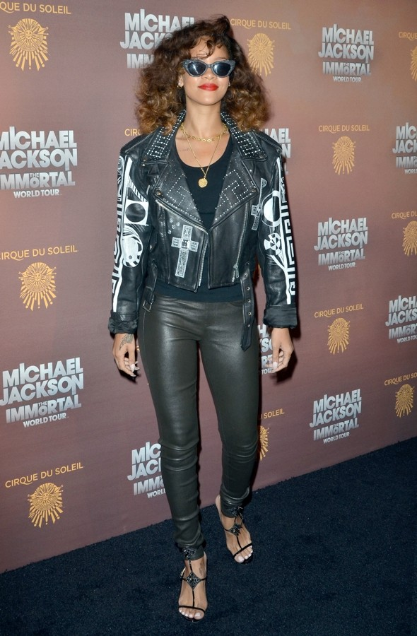 Leathered! Rihanna pays style tribute to Michael Jackson at launch of new tour