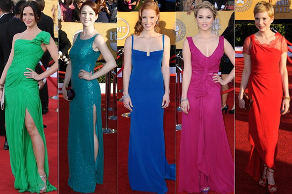 Bright colours on the Screen Actors Guild Awards red carpet