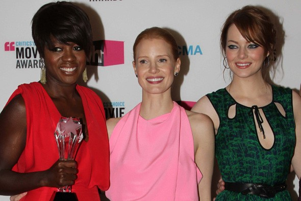 Viola Davis, Jessica Chastain and Emma Stone of The Help, at the Critics' Choice Awards