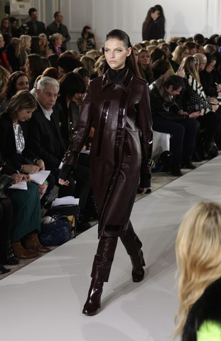 A model walks the runway during the Aquascutum Autumn/Winter 2012 show at The Savoy. Photo:PA