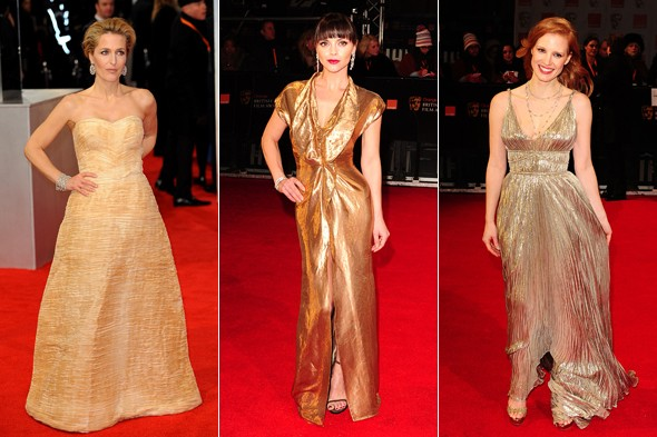 Going for gold: Metallics rule the red carpet at the Baftas