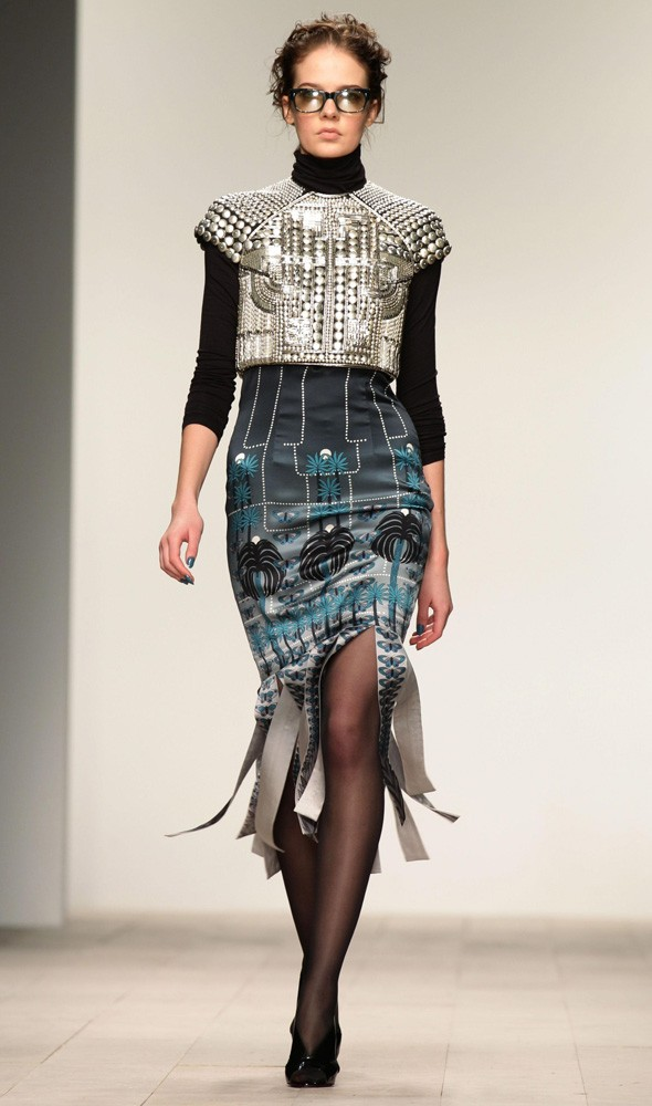 A model walks during the Holly Fulton Autumn/Winter 2012 collection