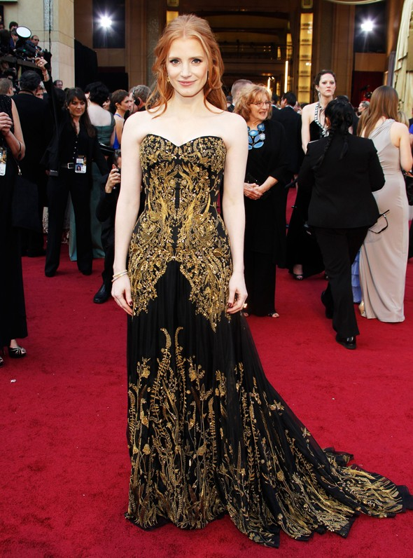 Oscars 2012: Jessica Chastain looking spectacular in McQueen