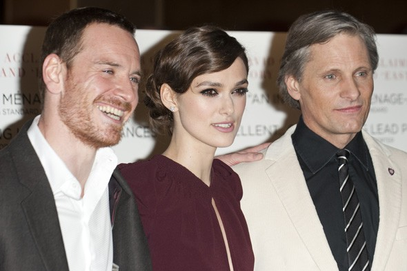 Michael Fassbender, keira Knightley and Viggo Mortensen at the premiere of A Dangerous Method