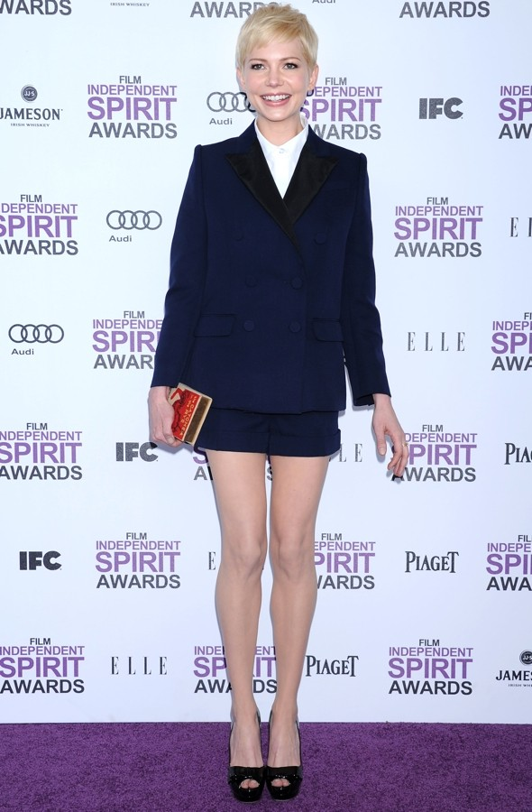 Michelle Williams wows in Louise Vuitton shorts suit