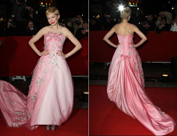 Pretty as a princess? Michelle Williams visits Paris in pink fairytale Dior