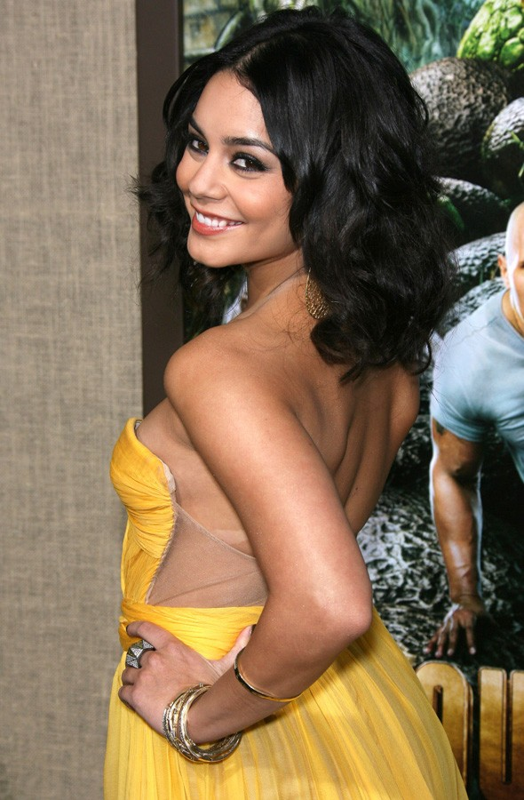 Vanessa Hudgens in yellow dress at Journey 2: The Mysterious Island premiere