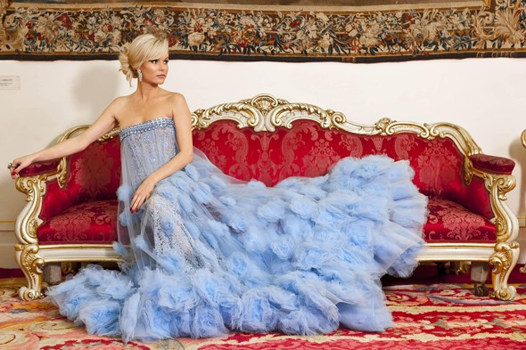 Amanda Holden is a real drama queen in exquisite blue dress for BGT ad