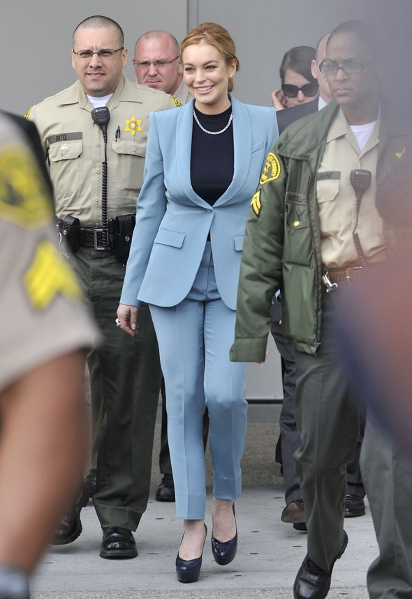Grand finale: Lindsay Lohan heads to last court appearance in powder blue suit