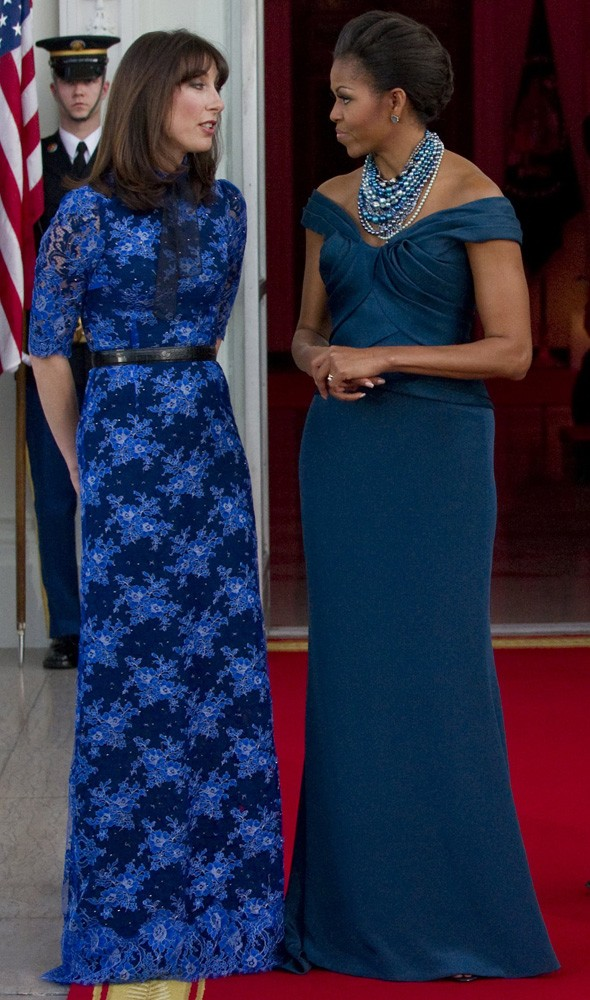 Samantha Cameron and Michelle Obama at the White House state dinner
