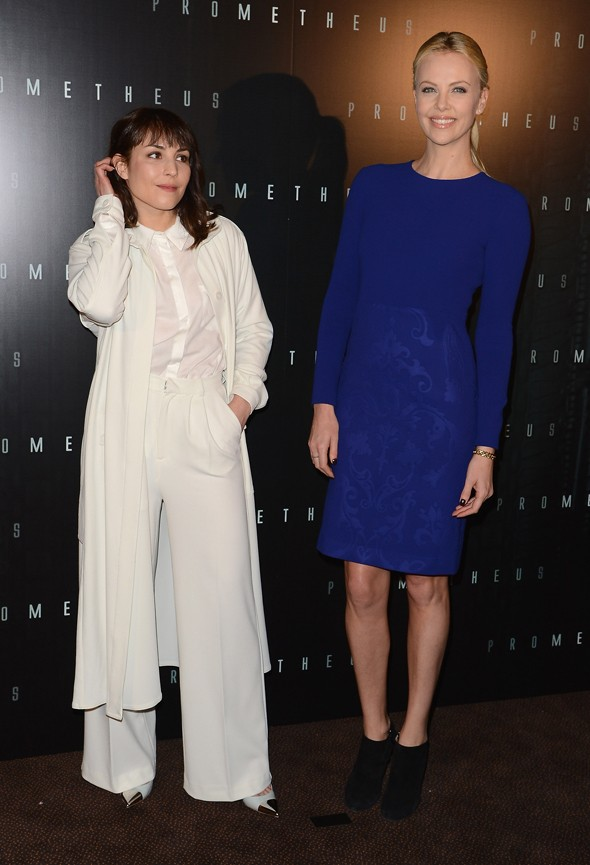 Charlize Theron and Noomi Rapace at Paris Prometheus premiere