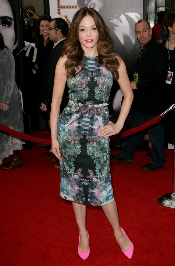 Prepare to swoon over Rose McGowan's gorgeous pixel print dress